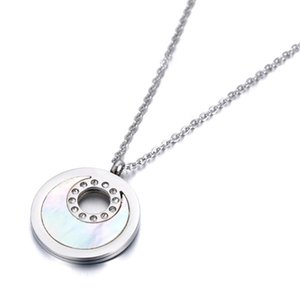 Trendy Rhinestone Stainless Steel Chokers Necklaces Moon Shape Shell Circle Rose Gold Pendant Jewelry For Women