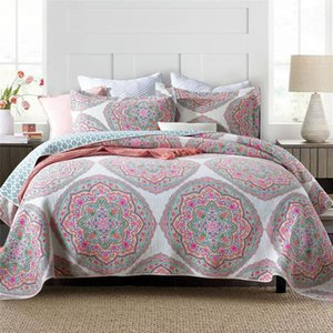 CHAUSUB Cotton Quilt Set 3pcs Print Bedspreads For Double Bed Cover With 2 Pillowcase Queen Size Summer Blanket Coverlet