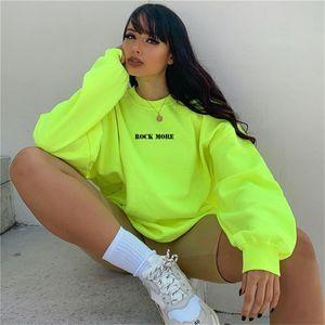 Yiciya Rahat Boy Hoodie Neon Yeşil Mektup Baskı Kalça Alfabe Baskı Üst Hop Streetwear Uzun Tişörtü Kadınlar Top 201202 Alın