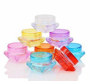 Acrylic Diamond 3G 5G Cosmetic Loose Powder Plastic Jar with Lid High Quality Skin Care 3ML 5ML Small Lip Balm Jar Wholesale