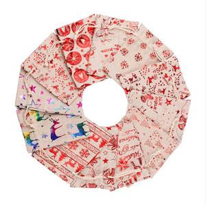 Christmas Gift Bag Cartoon Santa Claus Candy Bag Snowman Xmas Tree Print Canvas Bag Drawstring Sack Bags Christmas Party Supplies FWA2533