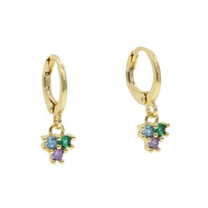 CUTE three stone dots dangle charm dangling earring paved colourful rainbow cz trendy dainty women girl sweet lovely jewelry