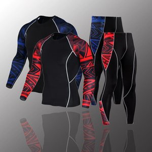 2021 New Men's Compression Set Running Tights Workout Fitness Training Tracksuit Long Sleeves Shirts Sport Suit Rashgard Kit 4XL