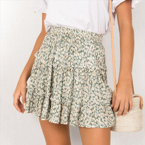 Women Summer Floral Print Pleated Mini Skirt Elegant High waist Short Beach Holidays Casual Skirt Boho Cotton