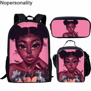Nopersonality School Bags Orthopedic Children Book Bags Black Art Girls Prints African Style Women Pink Backpack Sets Mochila