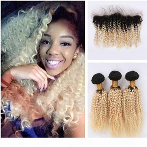 Dark Root Afro Kinky Curly Malaysian Virgin Hair Weaves With Lace Frontal Blonde Ombre #1B 613 Human Hair Bundles With Lace Frontal Closure