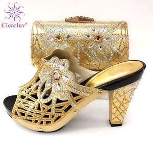 ClearLuv Nouvelles chaussures italiennes à la mode avec sacs assortis à talons hauts africains Chaussures et sacs à talons et sacs pour la fête du bal Y200702