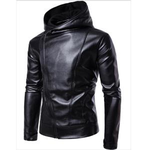 Черная кожаная куртка из толща человека весенняя осень повседневная одежда мода наклонные молния толстовки кожаные куртки и пальто для человека