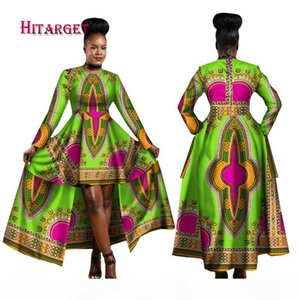 2018 African Dresses for Women Dashiki Cotton Wax Print Batik Sexy Long Dress for Femal Traditional clothing WY1268