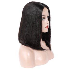 5 * 5 Pelucas delanteras de cordones HD LOB Silízonal recta brasileña peruana Malasia Human Hair Bob Famous Wig