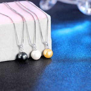 High Quality 925 Sterling Silver 10mm Pearl Pendant Necklace Choker With Chain Fashion Silver Jewelry