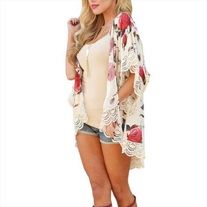 Boho Summer Women`s Beach Chiffon Floral Printed Cardigan Shawl Kimono Cardigan Bikini Cover Up Tops Shirt