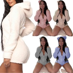 Women plus size Jumpsuits & Rompers fall winter clothes sexy club househood bodysuits leggings shorts bodycon sportswear hooded gym 0719