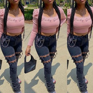 Streetwear Women Solid Hollow Out Jeans 2021 Primavera più nuovo Vita alta Pulsante in vita Lace-up Lady's Skinny Skinny Stacked Denim Pants