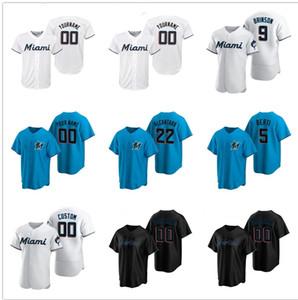 2020 Corey Dickerson Marlins Jersey Jersey Jonathan Villar Miami Jon Berti Alcantara Jorge Alfaro Lewis Brinson Blue Custom