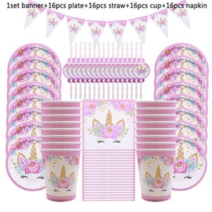 65Pcs Unicorn Party Supplies Kids Birthday Decoration Disposable Tableware Set Paper Plates Cup Banner Baby Shower Girl Decor Q1124