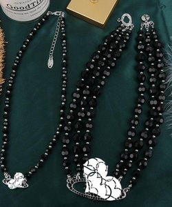 2021 new European and American catwalk stars with the same three-layer pearl full diamond satellite necklace black necklace clavicle chain f