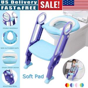 Toddler Boys Girls Foldable Convenient Potty Potties Toilet Training Step Stools Seat Adjustable Ladder Safe Handles Soft Pad LJ201112
