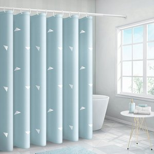 Geometric triangle Shower Curtain Bathroom Waterproof Polyester Printing Curtains for Bathroom with Hooks fabric light blue japa Q1127 Q1128