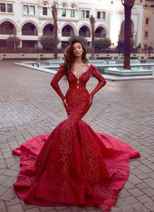 2021 Charming Red Prom Evening Dress Long Sexy Long Sleeve Deep V Neck Formal Party Gown Appliqued Sheath Mermaid Pageant Dresses
