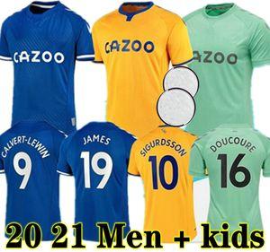 Nuevo 20 21 James Everton Soccer Jerseys Calvert Lewin Kean 2020 2021 Sigurdsson Richarlison Football Shirts Tosun Bernard Hombres para adultos + Kit Kit Jersey