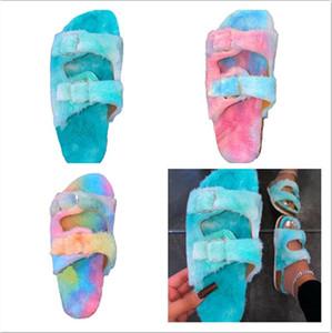 2021 Pantoufles colorées pour femmes hiver Couleur chaleureuse Couleur des pantoufles à talons à basse herbe Casual Sports Beach Flip-Flops Filles Accueil Vêtements F112101