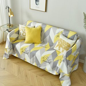 Geometric Sofa Throw Blanket Cover For Living Room Yellow White Grey Simple Style Sofa Full Cover Furniture Protected Home Decor