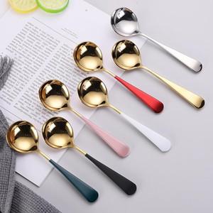 Pequeñas cucharas redondas 304 Cocina de acero inoxidable Cuchara de vajilla de estilo 6 Cuchara de estilo Cuchara de comida para estudiantes XD24494