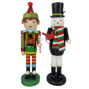 Snowman Nutcracker Black Top Hat And Red Green Scarf Wood Elf Christmas Decoration Nutcracker Gift 201027