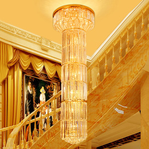 LED Modern Long Crystal Chandelier American Stairway Golden Crystal Chandeliers Lights Fixture Hotel Home Stairs Long Crystal Pendant Lamps