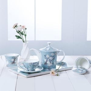 Blue flower ceramic plates dishes dessert plate Coffee Cup Tea Tray Teapot Milk Cups Fruit Dish Boutique European Hand Painted