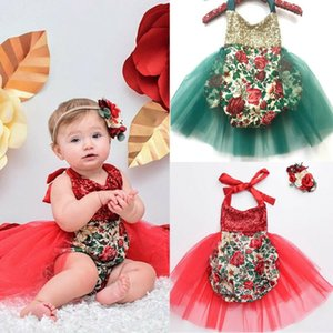 New Infant Sequin Christmas Outfit Girl Baby First Xmas Party Romper Tutu Dress Clothes