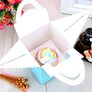 Single Cupcake Boxes With Clear Window Handle Portable Macaron Box Mousse Cake Snack Boxes Paper Package Box Birthday Party Supply YYB3868