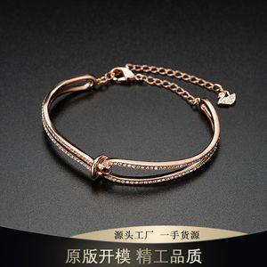 Shijia Jinggong twist bracelet female rose gold bow ribbon fringed Swan tail exquisite bracelet batch F1201
