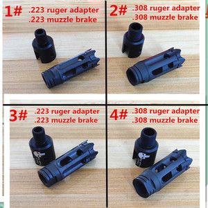 4 Kinds Aluminum Ruger 1022 1 2-28 5 8-24 Muzzle Brake Thread Adapter and Steel .223 .308