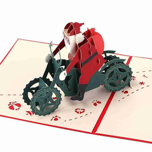 1pc 3D Greeting Card Santa On Motorcycle Christmas Party Cards With Envelope New Year Greeting Card Party Invitation Postcard