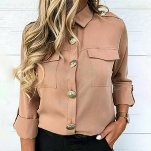 Office Lady Solid Button Pockets Long Sleeve Blouse Shirts Women Casual Trun down Collar Spring Autumn Tops Blusas Women Clothes