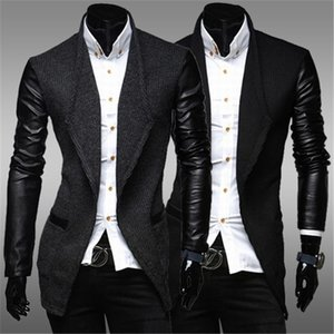XingDeng Men's fashion pu leather long seelve Wool garment open stitch jackets Business casual Smart Suit high quality top Coats