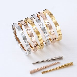 Classics Fashion jewelry Rose gold Silver 316L stainless steel screw bangle diamond bracelet with screwdriver men and women lover bracelets