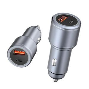USB C Araç Şarj Tüm Metal 36 W Hızlı USB Araç Şarj PD QC 3.0 Çift Bağlantı Noktası Araba Adaptörü iPhone Samsung Huawei Için