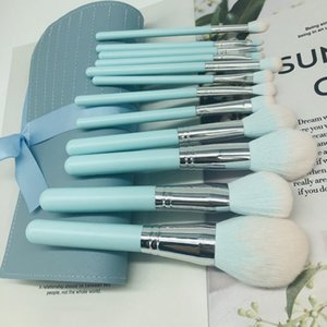 2020 new 12pcs set light blue handle cosmetic brush foundation eye shadow brush Beauty Kit Set +PU bag