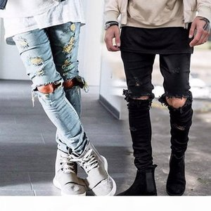 Wholesale-west denim jumpsuit clothes rockstar ankle zipper destroyed skinny ripped jeans for men