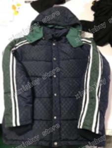 Adam Tasarımcılar Giysi Ceketler Paris Mektup Yeşil Şerit Pamuk Beyzbol Rahat Erkek Kış Mont Erkek Ceket Siyah
