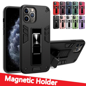 For Iphone 12 11 Pro Max XR XS MAX 7 8 Plus Shockproof Hybrid 2 in 1 Magnetic Holder Kickstand Case Cover For Samsung S20 plus S20FE Note 10