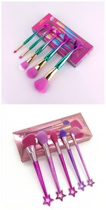 2020 Tarte Mermaid Brushes and Blink Shiny Star Handle Brush Set 5pcs set Limited Edition Makeup Brush Set Fishtail Brush With Retail Box