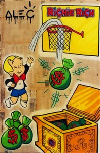 Alec Monopoly Graffiti art decor Richie Rich Basketball Handpainted &HD Print Oil Painting On Canvas Wall Art Canvas Pictures , F201201