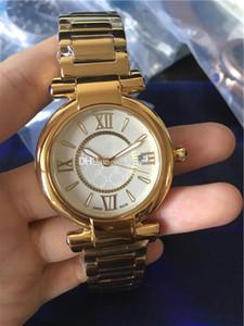 새로운 고품질 숙녀 화이트 다이얼 스테인레스 스틸 골드 케이스 석영 운동 강철 밴드 시계