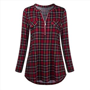 Women Shirt Plus Size Casual Rolled Sleeve Zipped V neck Plaid Printed Shirt Tunic Long Sleeve Womens Tops Blouses Camisas 38