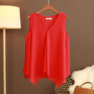 Bnaerdanni Plus Size 5XL Chiffon Blouse Womens Summer New V neck Cardigan Double Layer Loose Casual Bottoming Shirt