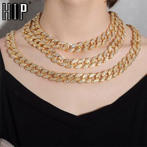 Hip Hop Miami Curb Iced Out Cuban Chain Necklace 15MM Gold Paved Rhinestones CZ Bling Rapper Necklaces For Men Women Jewelry 201218